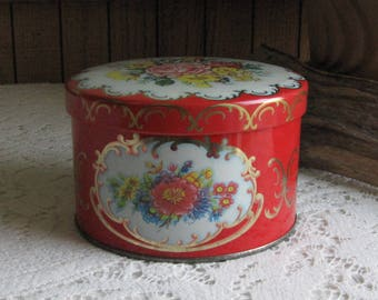 Daher Red Floral Tin Vintage Boxes and Tins Kitchen Storage and Gifts