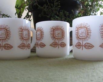 Vintage Federal Glass White Coffee Mugs Set of Three (3) Brown Sunflowers Retro Kitchens