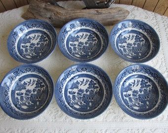 Churchill Blue Willow Coupe Bowls Vintage Dinnerware and Replacements Set of Six (6)