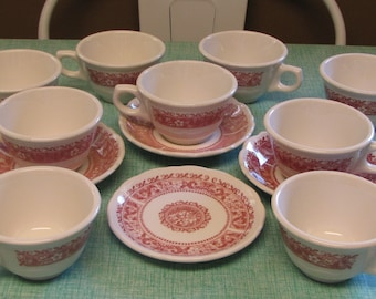 Strawberry Hill coffee cups and saucers Syracuse China restaurant ware 1970s 13 pieces