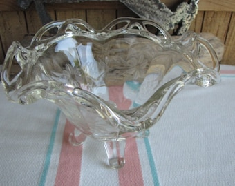 Etched comport bowl Imperial Glass 1935-1950 Harmony House Vintage Dinnerware and Replacements