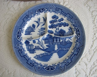 Blue Willow Divided Plate Carr China St. Louis Grill Restaurant Ware Vintage Dinnerware and Replacements