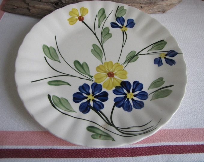 Southern Pottery Blue Ridge Plate Blue and Yellow Flowers Vintage Farmhouse and Rustic Plate Walls