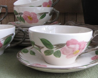 Franciscan Desert Rose cups and saucers 1976-1984 set of 8 Vintage Dinnerware and Replacements