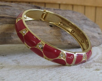 Vintage Enamel Red Bracelet with Rhinestone Gold Toned Vintage Jewelry and Accessories