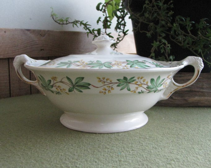 Crown Potteries Covered Vegetable or Serving Bowl 1951 Vintage Dinnerware Soup Tureen