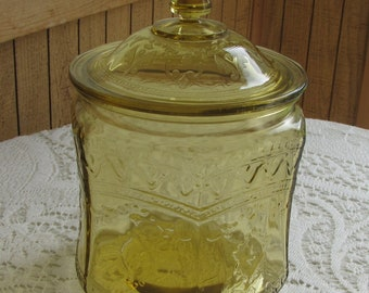 Amber Depression Glass Biscuit Jar Patrician Federal Glass Vintage Glass 1933-1937