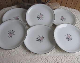 Noritake Rosales Salad Plates Set of Six (6) Vintage Dinnerware and Replacements 1956-1971