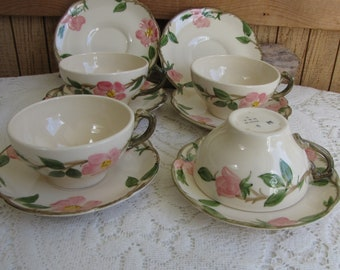 Franciscan Desert Rose Cups and Saucers 1941-1953 Set of Four (4) With Two (20 Extra Saucers Vintage Dinnerware and Replacements