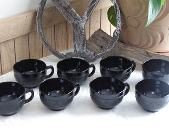 Black Cloverleaf Coffee Cups 1930-1936 Hazel Atlas Depression Glass Vintage Dinnerware and Replacements Set of Eight (8)