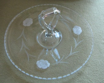 Vintage Etched Glass Handled Serving Tray Jeannette Glass Co. Kitchens and Entertaining