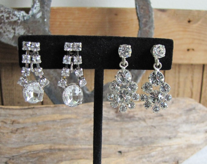 Rhinestone Earrings Two (2) Pairs of Foil Back Screw-on Earrings Vintage Jewelry and Accessories