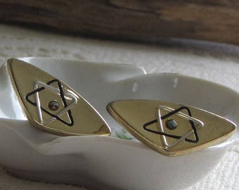 Cuff Links Mid Century Atomic Designed Gold Toned Black Stoned Men Accessories and Jewelry