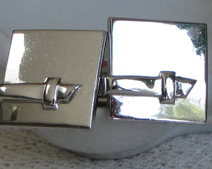 Swank Square Cuff Links Belted Silver-Toned Men's Vintage Jewelry and Accessories