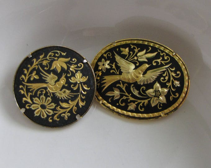 Damascene Black and Gold Round Bird Brooch Two Brooches Vintage Jewelry and Accessories