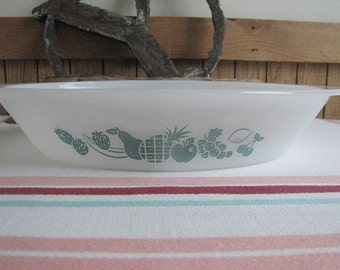 Glasbake Teal Fruit Divided Dish Vintage McKee Glass Company 1970s J-2352 Vintage Oven to Table Ware