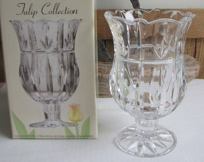 St. George Crystal Vase Tulip Collection Footed Vases Flower and Bouquets Vintage Florist Ware
