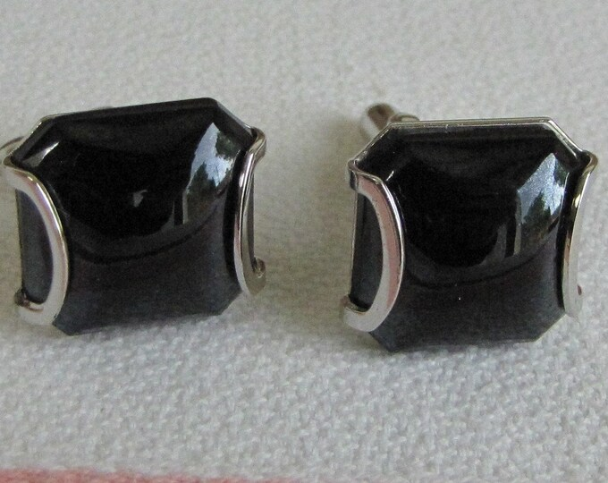 Swank Silver Toned Cufflinks Black Square Vintage Men's Jewelry and Accessories