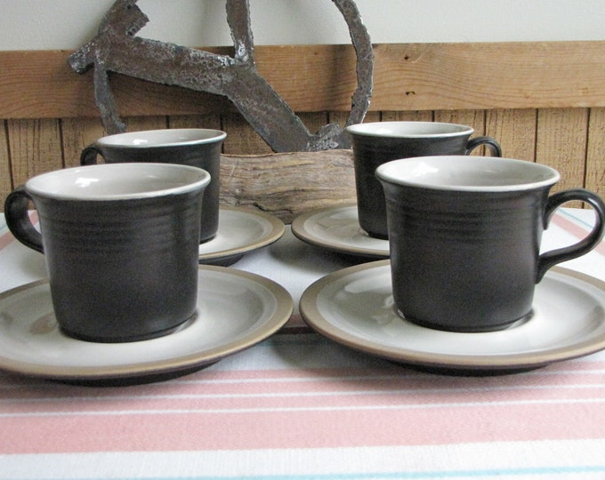 Franciscan Gourmet Coffee Cups and Saucers Vintage Dinnerware and Replacements Set of Four (4) 1971