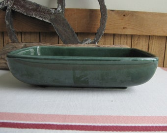 Forest Green Succulent Planter Vintage Planters and Pots USA #423 Low Console or Profile Planter