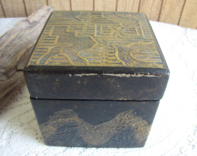 Vintage small wood box with scenic metal embellishments