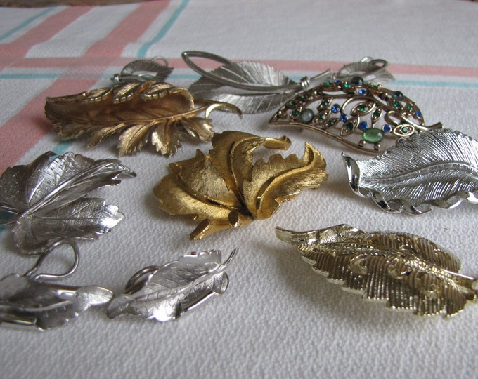 Leaf Brooches Lot of 7 Pins with 2 pairs of Earrings Vintage Jewelry and Autumn Accessories