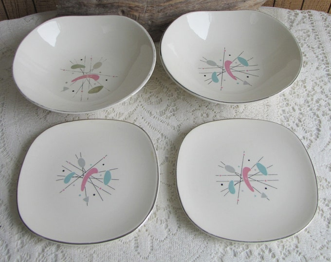 Edwin Knowles Mobile Mid Century Dishes Atomic Design Vintage Dinnerware and Replacements Four (4) Pieces