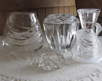 Vintage Crystal Candle Holders and Votives Lot of Four (4)
