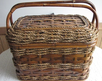 Vintage Rattan Picnic Basket Vintage Food Hamper Outdoor Dining and Picnics