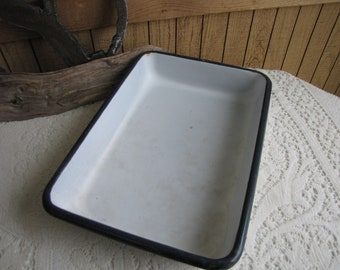 "Enamel Cookware 12"" x 8.5"" White with Black Trim Vintage Farmhouse Kitchens"