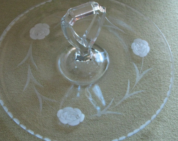 Vintage Etched Glass Handled Serving Tray Jeannette Glass Co.