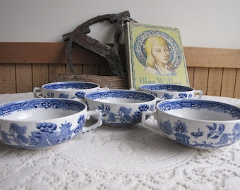 Blue Willow Ridgways Cream Soup Bowls Set of Five (5) Circa 1830s Antique Dinnerware and Replacements
