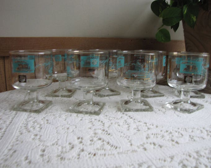 Riverboat Wine Glasses or Low Sherbet Gold and Turquoise Southern Comfort Federal Glass Co. Set of Eight (8)