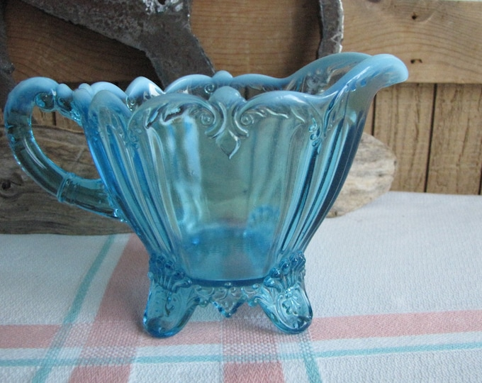 Dugan blue opalescent cream pitcher 1905 Antique Glass