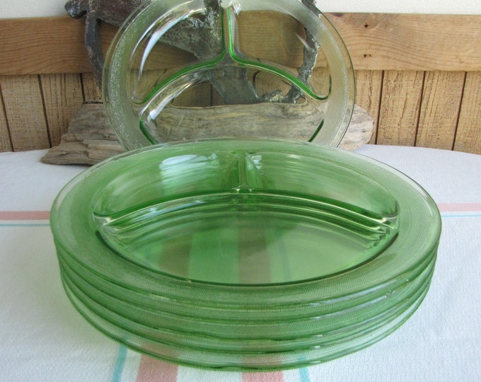 Green Depression Glass Homestead Smith Glass Grill Plates Set of Six (6) 1927 to 1931
