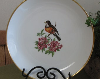 Schumann Chop Plate Bird on Flower Bavaria Arzberg Germany Gold Crown