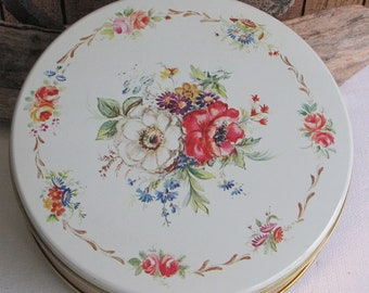 DeMet's Candies Floral Tin Vintage Tins and Box Storage and Tin Wall Displays