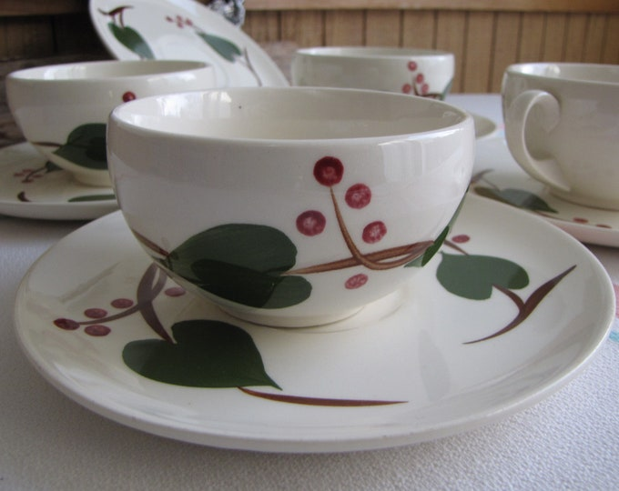 Blue Ridge Cups and Saucers Stanhome Ivy Southern Potteries Set of 4 Vintage Dinnerware and Replacements
