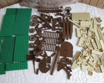 Lego Bricks Green, Beige, and Brown Bricks and Specialty Bricks Vintage Toys and Building Bricks