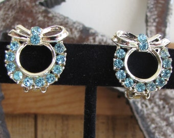 Blue and Silver Rhinestone Wreath Earrings Vintage Jewelry and Accessories
