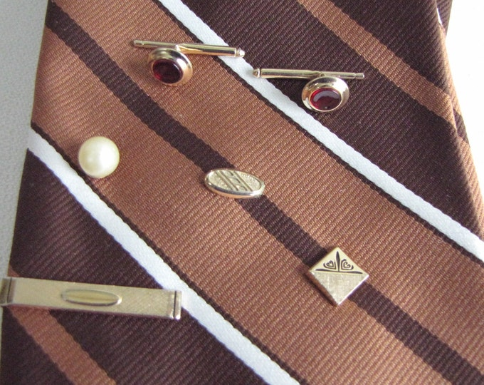 Tie Pin Lot Men's Vintage Jewelry and Accessories Six (6) Pieces