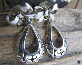 Sterling Silver Earrings Bows and Curlicues Vintage Jewelry and Accessories