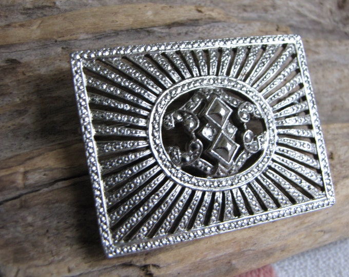 Square Marcasite Brooch Vintage Jewelry and Accessories