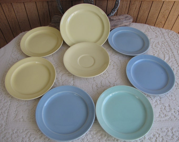Lu-Ray Small Plates Pastels Taylor Smith & Taylor 1938 to 1960 Set of Eight (8) Vintage Dinnerware and Replacements Blue Green Yellow