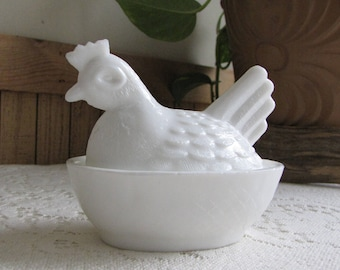 Hen on Nest Milk Glass Chickens and Roosters Vintage Farmhouse Rustic