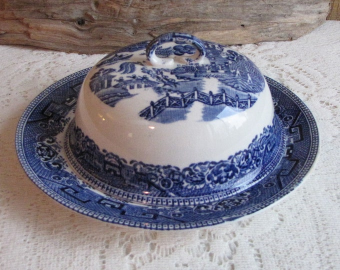 Blue Willow Myott & Son Butter Dish England Antique Dinnerware and Replacement Willow Ware Collectibles