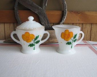 Fire King Milk Glass Cream and Sugar Hand Painted 1950 Vintage Dinnerware and Replacements