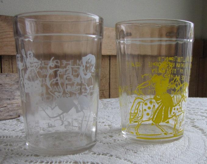 Two Nursery Rhyme Jelly Jar Glasses Vintage Drinkware
