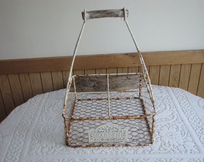 Wire Milk Bottle Basket Vintage Farmhouse Baskets Kitchen Storage and Decor Rustic Baskets