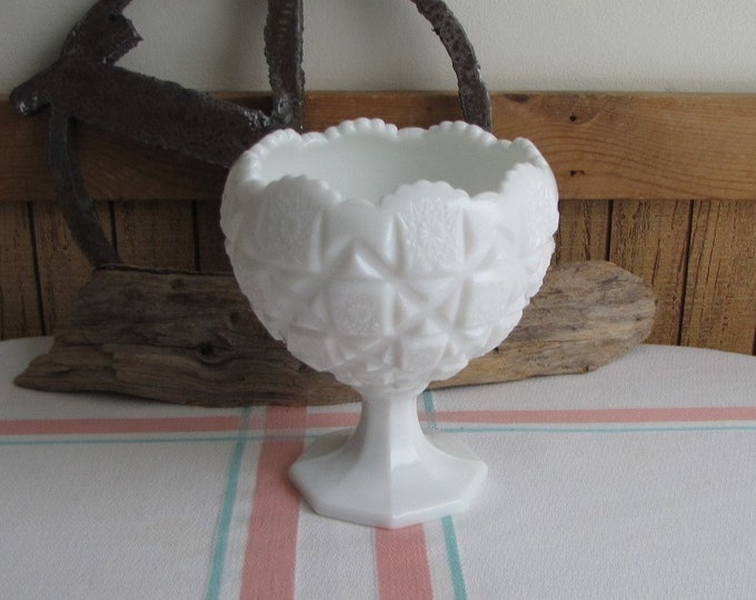 Westmoreland Milk Glass Compote Old Quilt Cupped Bowl Vintage Glass and Home Decor